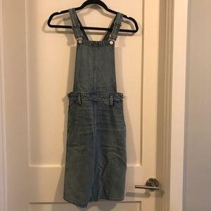 Madewell denim overall dress. So adorable!!